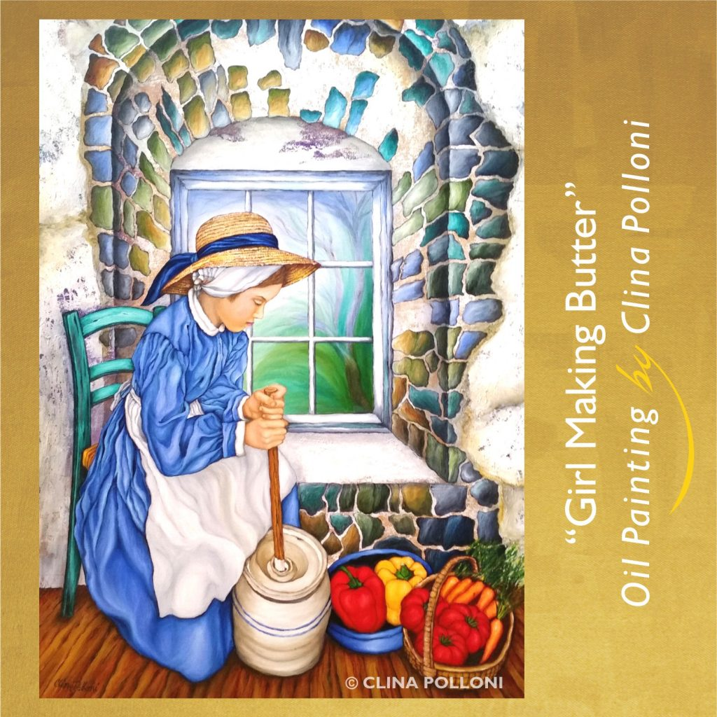 Girl Making Butter-Painting by Clina Polloni