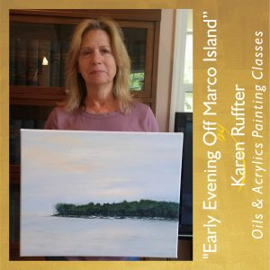 Painting Class-Karen Ruffter painting Early Evening Off Marco Island