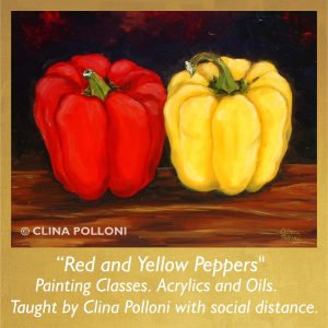 Painting Class acrylics oils-Red and Yellow Peppers