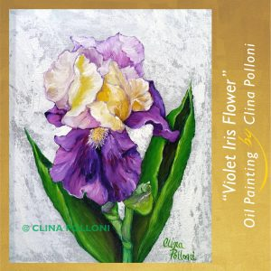 Violet Iris Flower Painting