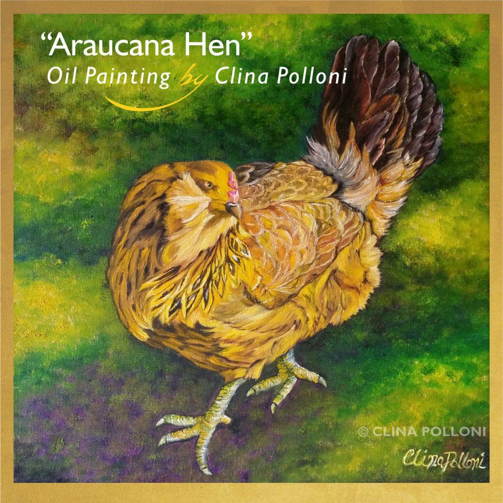 Araucana Hen Pet Portrait