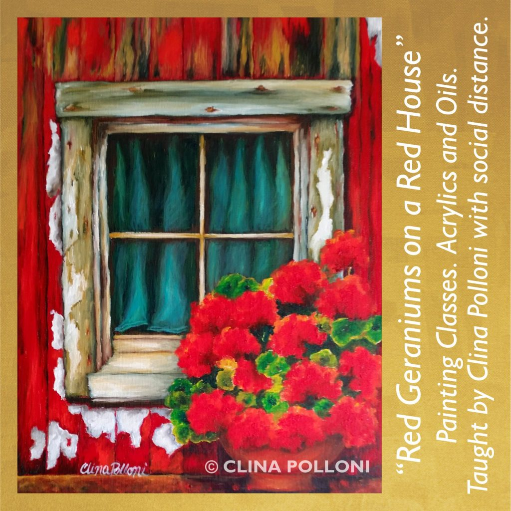 Painting Class acrylics oils-Red Geraniums on a Red House