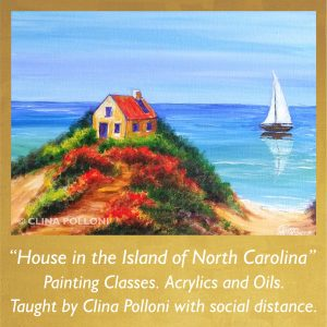 Painting Class acrylics oils-House in the Island of North Carolina
