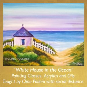 Painting Class acrylics oils-White House in the Ocean