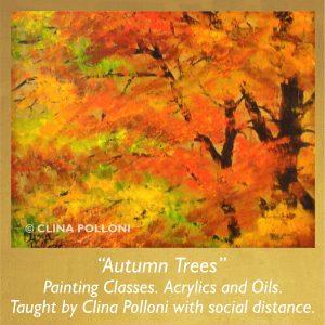 Painting Class acrylics oils-Autumn Trees