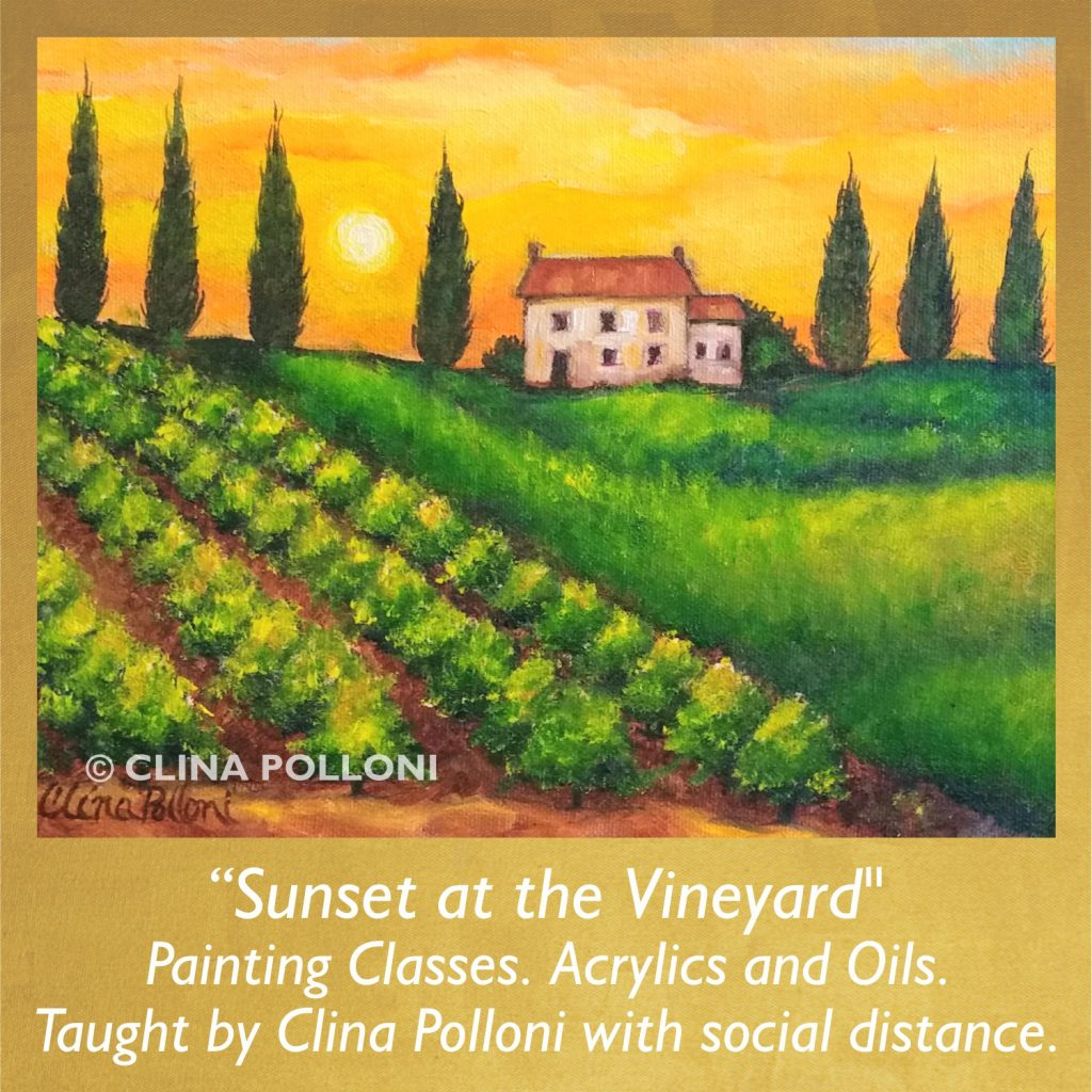Painting Class acrylics oils-Sunset at the Vineyard